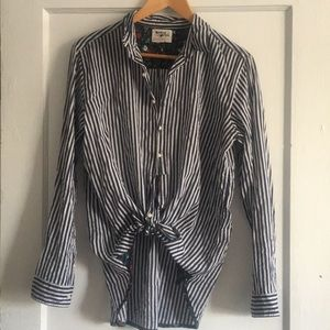 Holding Horses tie front striped shirt